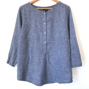 Lord + Taylor Linen Chambray Top